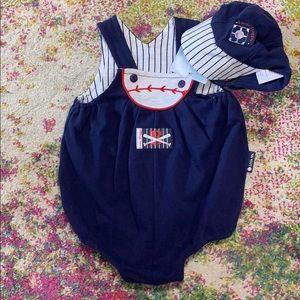 NWT Little Me Baseball Romper w/ Cap